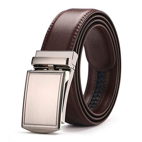 GTUQ Cinturón Cinturón de trinquete de Hombre Cinturón de Cuero Cinturón de Cuero Pantalones Vaqueros de Hombre Sin Agujero Cinturón marrón Negro Adecuado para Pantalones Casuales, Ropa Formal.
