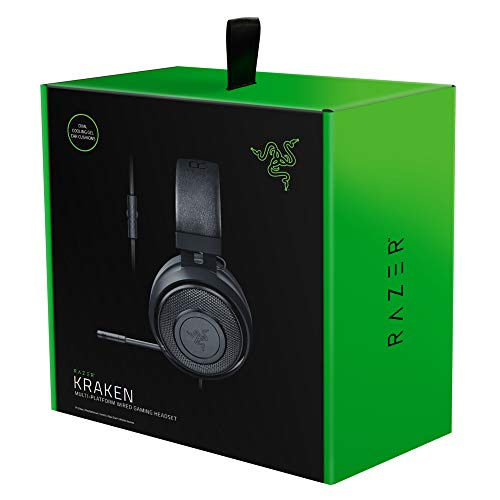 Razer Kraken - Gaming Headset (Kabelgebundene Headphones für PC, PS4, Xbox One & Switch, 50mm Treiber, 3,5mm Audio-Klinkenstecker mit In-Line Fernbedienung) schwarz