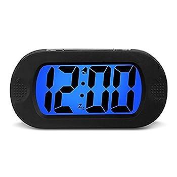 HENSE Large LCD Display Digital Smart Light Alarm Clock,Snooze/ Nightlight Backlight Light Sensor Travel Home Bedside Alarm Clock,Battery Operated,Shockproof Ideal Gift for Kids/Teens HA30 Black