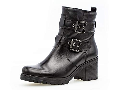 Gabor Damen Stiefelette 31.841, Frauen Biker Boots,Stiefel,Halbstiefel,BikerBootie,gefüttert,Winterstiefelette,schwarz,40.5 EU / 7 UK