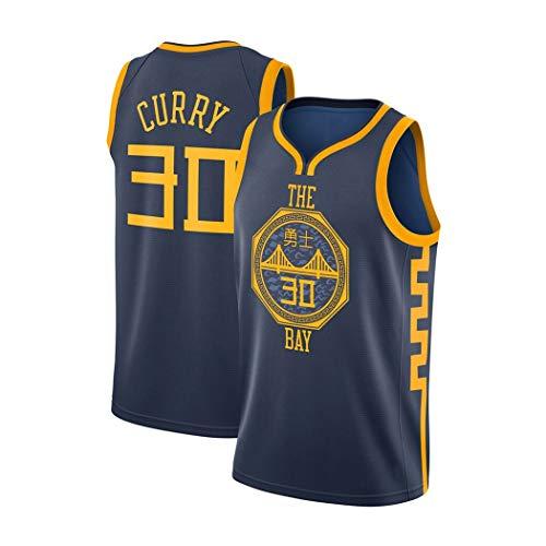 Stephen Curry 30# Basketball Jersey, Golden State Warriors Klassik New Season Uniform NBA Anzug, Ärmel Unisex Swingman, XS-XXL (Color : Schwarz, Size : M)