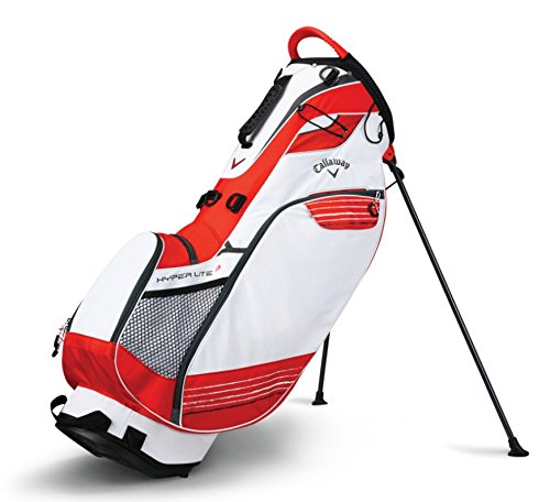 Find Discount Callaway Golf Stand Bag Hyper Lite 3 Stand Bag Double Strap, White/Orange/Titanium