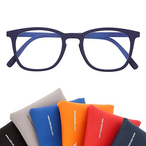 Blaulichtfilter Brille für Damen und Herren. Blaufilter Brille mit stärke oder ohne sehstärke für Gaming oder Pc. Gummi-Touch-Tempel und Blendschutzgläser. Indigo +1.5 – TATE