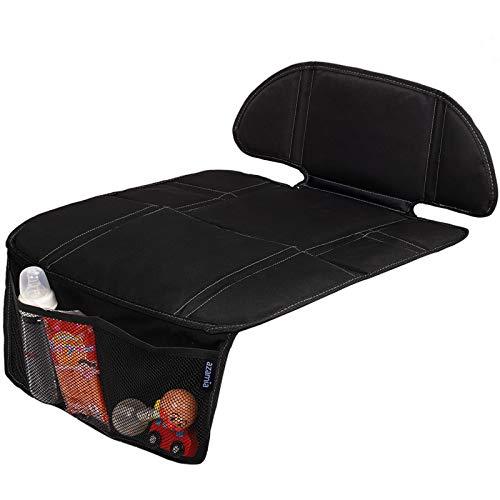 チャイルドシート保護マット AZAMIAジュニアシート 保護シート 改良版 滑り止め 汚れ防止 車シートプロテクター 保護カバー 前席後席適用 収納ポケット付き 600D素材 取り付け簡単(ブラック)