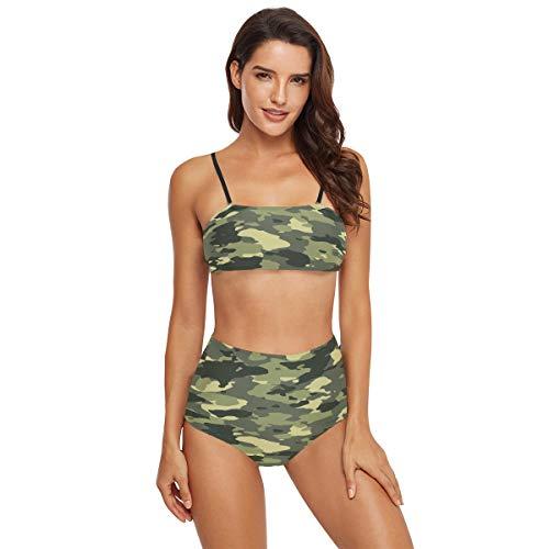SUGARHE Damen Badebekleidung,Nahtloser breiter grüner Tarnmuster Vektor,Mädchen Bikini Set Split(XL)