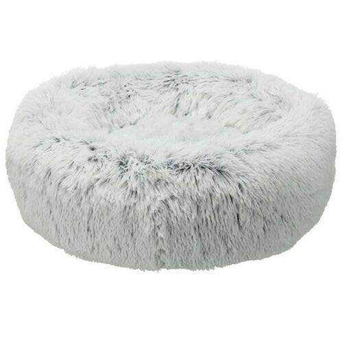 Trixie 38015 Cuccia Per Cani Bianca Nera Pelosa Sfoderabile Rotonda Cuscino 60 cm