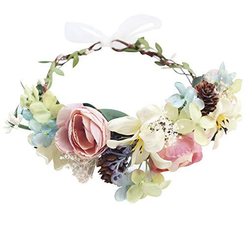 Handmade Adjustable Flower Wreath Headband Halo Floral Crown Garland Headpiece Wedding Festival Party (A18-pink+light Green)
