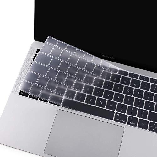 MOSISO Tastaturschutz Kompatibel mit 2019 2018 MacBook Air 13 Zoll A1932 mit Retina-Bildschirm und Touch-ID, Wasserdichter Staubdichter Silikon Schutzhülle, Klar
