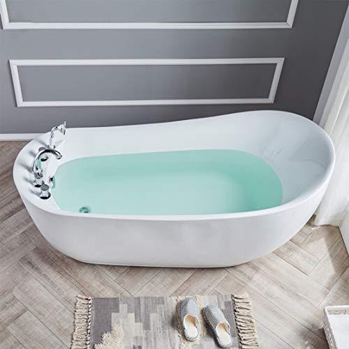 DaiMeng Acryl Modern Eigenständige Badewanne Weiß Warm Hoher Rücken Großer Raum Badewanne mit Wasserhahn Duschkopf Wasserventil,160 * 75 * 75cm