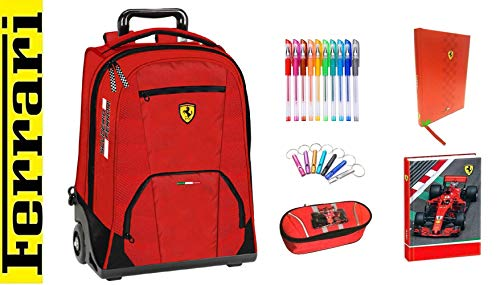 Ferrari - Mochila con ruedas organizada en color rojo + estuche con cremallera + diario + llavero silbato + 10 bolígrafos de colores + marcapáginas
