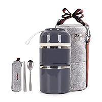 かわいいランチボックス 断熱ランチバッグ 弁当ボックス 食品容器 収納ボックス カトラリー付き 大人 オフィス キャンプ 2段 グレー bodian2tiers