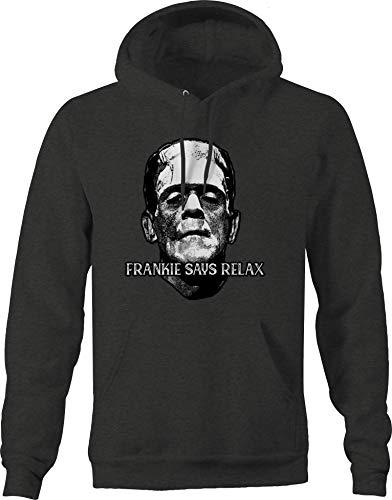 Funny Halloween Frankie Says Relax Frankenstein Hoodie for Men, Dark Gray, S to 3XL