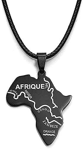 WYDSFWL Collar Mujer Hombre Moda Balck Collar África Tarjeta Colgante Cuerdas Tarjetas africanas Joyas Collares Nigeria Sudáfrica Sudán Etiopía Afrique
