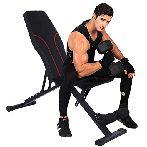 KALKOAOLY Adjustable Weight Bench,Foldable Incline Decline and Flat Gym Bench,Workout Bench for Home Gym Weightlifting and Strength Training,Multi-Purpose Sit up Exercise Equipment Body Gym System