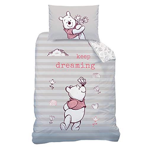WINNIE POOH Babybettwäsche Kinderbettwäsche für Mädchen Disney Winnie the Pooh Bär - 1 Kissenbezug 40x60 + 1 Bettbezug 100x135 cm