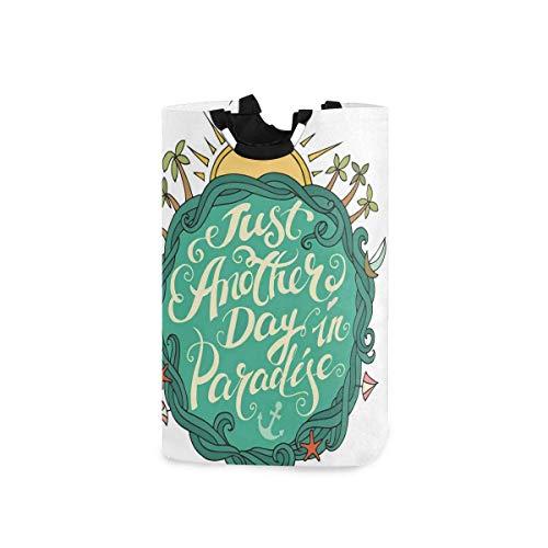 Hdadwy Cestas de lavandería, Concepto de Vacaciones de Verano exóticas Just Another Day In Paradise Frase Motivacional, Cesta de lavandería Plegable con Asas, Adecuada para dormitorios, lavandería