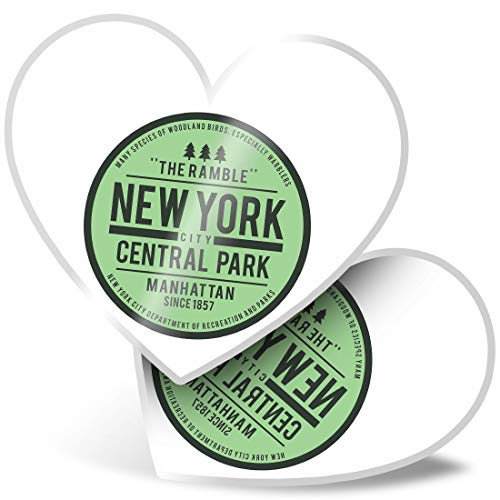 Awesome 2 x Heart Stickers 7.5 cm - Central Park New York USA America NYC Fun Decals for Laptops,Tablets,Luggage,Scrap Booking,Fridges,Cool Gift #9116
