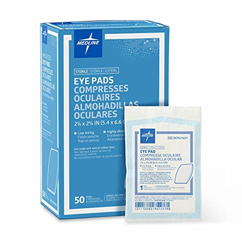 Medline Sterile Eye Pads 2 1/8″ X 2 5/8″, White, (50 Count)