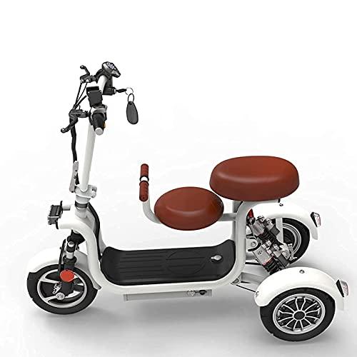 FHKBK Scooter de Movilidad Plegable Scooter eléctrico de 3 Ruedas Scooter de Movilidad para Adultos y niños Portátil Recargable de Viaje 2 Asientos Scooters de Movilidad eléctricos