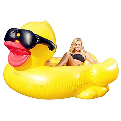 Gcxzb Swim Ring Inflatable Big Yellow Duck Floating Row, Swimming Pool Float Inflatable Toy Adult & Child Floating Bed Water Recreation Chair
