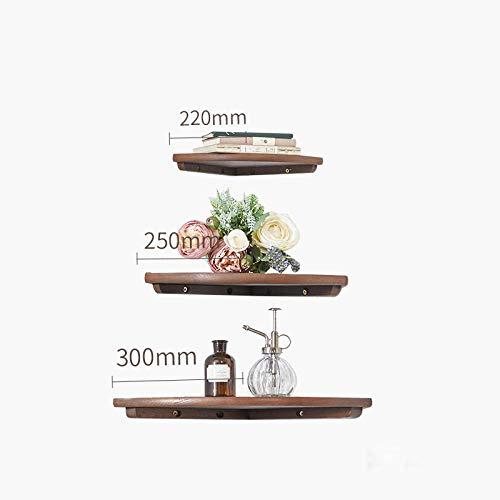 Drijvende Planken, Houten Decoratieve, Vintage Stijl Opslagplanken, Interieur Hangende Decoraties, Displayrek,Waaiervormig Hoekrek-Walnoot Driedelige Set