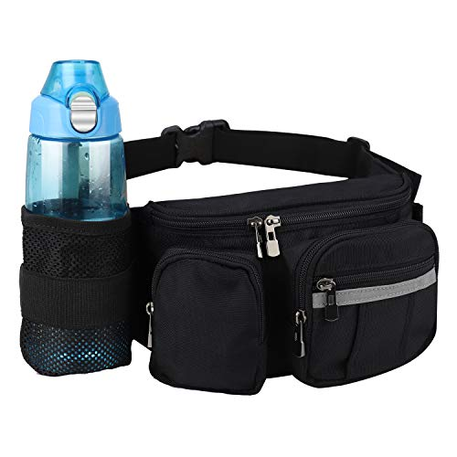 oxpecker Hiking Fanny Pack with Hidden Water Bottle Holder & Reflective Strip for Men and Women, Waist Pack Belt Bags with Adjustable Strap.