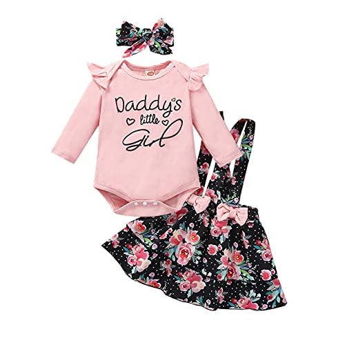 Ropa de bebé recién nacido de manga larga para niña de papá, conjunto de falda de tirantes floral con diadema