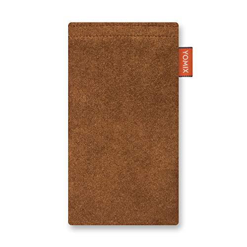 YOMIX Hugo Sienna Handytasche Tasche für LG G8X ThinQ aus Alcantara® mit Microfaserinnenfutter | Hülle mit Reinigungsfunktion | Made in Germany