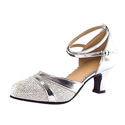 NMERWT Damen Sandalen Standard Tango Latin Tanzschuhe High Mit Weichen Bottom Square Tanzschuhe Runde Zehe Pailletten Schuhe Social Dance Schuh