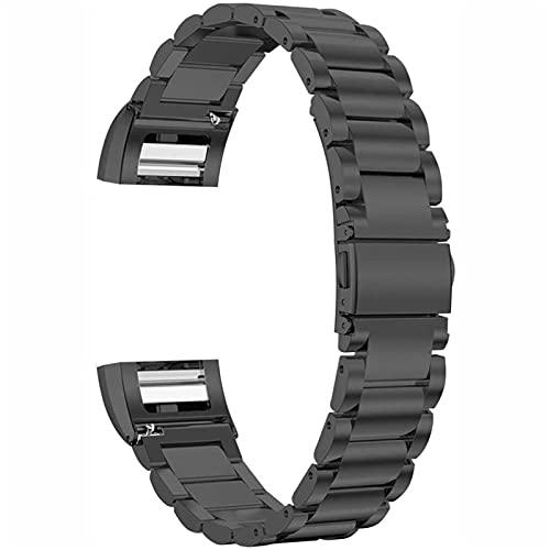 LCISCOUP Correa Reloj Correa de Acero Inoxidable, Adecuada para Correa de reemplazo de Metal de Acero Inoxidable (Band Color : Negro, Size : For Charge 2)