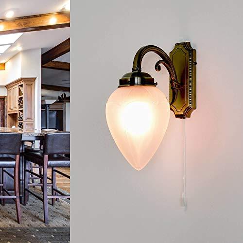 Exklusive Wandleuchte in Bronze E14 mit Zugschalter Jugendstil Wandlampe Wohnzimmer Schlafzimmer