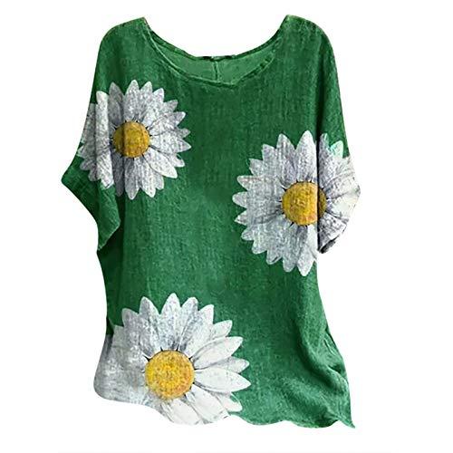 Kpasati Sonnenblume T-Shirt Damen Casual Sommer Lose Tunika Oversize Mode Drucken Locker Sexy Rundhals Tops