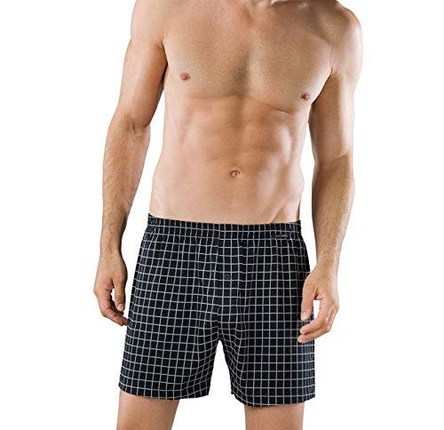 Schiesser 2 Pack, Herren Boxershorts, Baumwolle Jersey Boxer Plus, Schwarz-Weiß kariert (XXX-Large (Herstellergröße: 9))