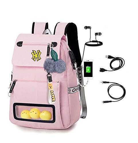 Middelbare school studentenrugzak, laptoptas Schooltas met USB-oplaadpoort, rugzak met grote capaciteit fashion travel, roze