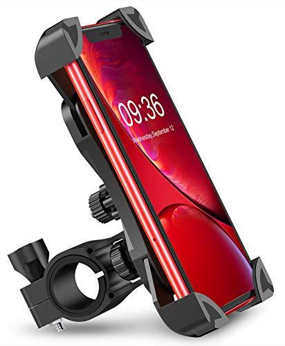 Cocoda Soporte Movil Bici, 360° Rotación Soporte Movil Moto Bicicleta, Anti Vibración Porta Telefono Motocicleta Compatible con iPhone 12 Pro Max/12 Mini/11 Pro MAX/XS/XR y Otro 4.5-7.0 Móvil(Negro)