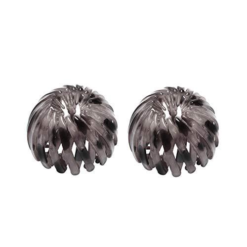 2 bucles de Pelo retráctiles geométricos Vintage, rizador de Horquilla de Cola de Caballo, Diademas de Peinado con Estampado de Leopardo Retro 2021, Pinzas de Pelo con Forma de Nido de pájaro