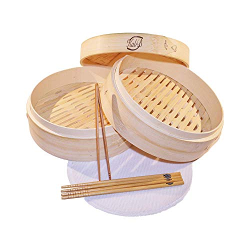 KABB 10 inch 2 Tiers Premium Bamboo Steamer basket for steaming food  Each Bamboo Steamer Set Comes with 2 Pairs of chopsticks 4 silicone washable amp reusable Steamer Liners and 1 Bamboo mini Tong