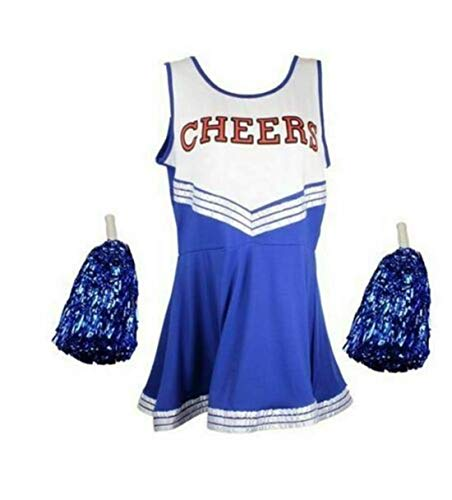 Gifts to go Ladies High School Cheer Girl Uniform Cheerleader Fancy Dress Costume Cheerleader Outfit (XS - Children's Age 10-12, Blue)