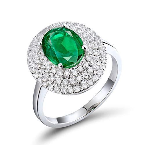 ANAZOZ Anillo de Compromiso Mujer Esmeralda,Anillos Oro Blanco 18 Kilates Plata Verde Oval Esmeralda Verde 1.86ct Diamante 0.49ct Talla 17