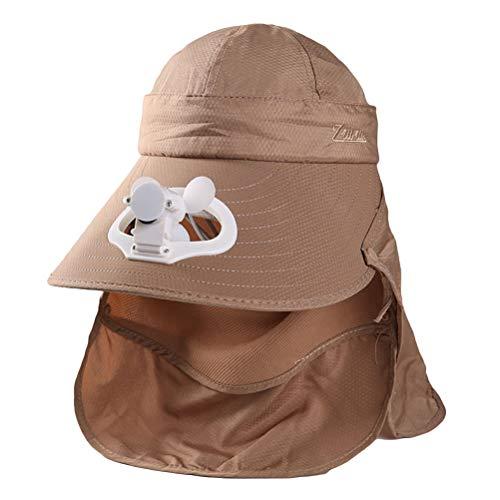 Wosiky Sombrero con Ventilador, Gorra de protección Solar Ventilador de Aire Gorra de béisbol refrigerada Ventilador Ventilador de Carga Ventilador Tapa de Visera con Cara Cubierta del Cuello Abrigo