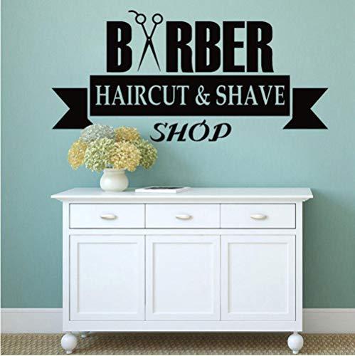 Friseur Schaufenster Vinyl Aufkleber Haarschnitt Und Rasur Muster Wandtattoo Schere Friseursalon Dekoration Barbershop Logo 120X57 CM