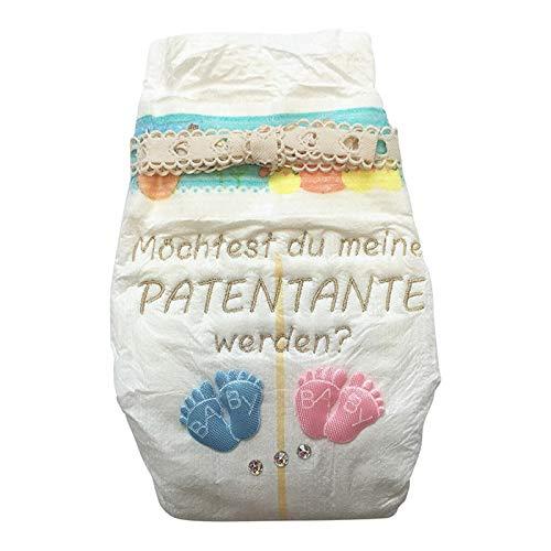 Tanjo Windel bestickt Möchtest du meine Patentante werden I 3 Hochwertige Swarovski Kristalle I Taufpatin fragen Geschenk, Geschenk für Patentante, Geschenke für Patentante, Geschenke zur Geburt