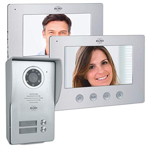 ELRO DV477W2 2-Familien Video Türsprechanlage mit 2 Farbdisplay, Kamera mit Nachtsicht, 4-Draht Technik, 16 Klingeltöne, Grau, One Size