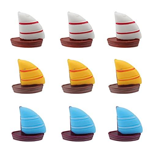 Happyyami 9Pcs Segelboot Kuchen Topper Nautischen Cupcake Topper Dessert Zahnstocher für Ozean Segeln Thema Party Geburtstag Party- Baby- Dusche