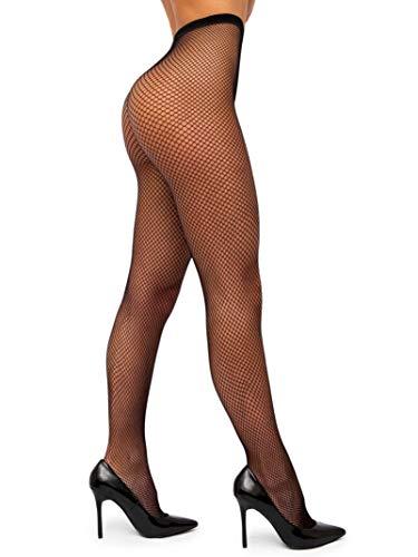sofsy Collants Résille Bas Nylon Taille Haute Lingerie [Fabriqué en Italie] Noir Black 5 - X-Large