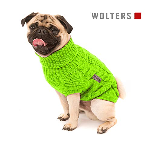 Wolters | Zopf-Strickpullover für Mops & Co. lime | 45 cm