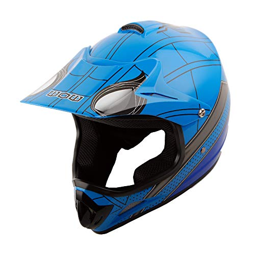 WOW Youth Kids Motocross BMX MX ATV Dirt Bike Helmet Spider Blue