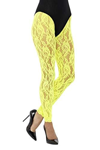 Smiffys Damen 80er Jahre Spitzen Leggings, One Size, Neon Gelb, 45161