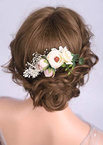 Deniferymakeup Haarkamm, Blumen, Blumen, Champagner, Blumen, Hochzeit, Brautschmuck, Grüner Kopfschmuck