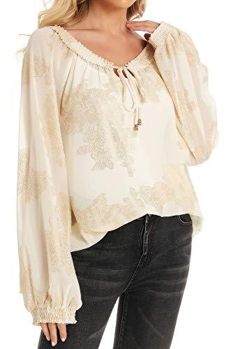 VERA Damen Freizeit Elegant Business Langarm weiße Hemd (Gold, S)